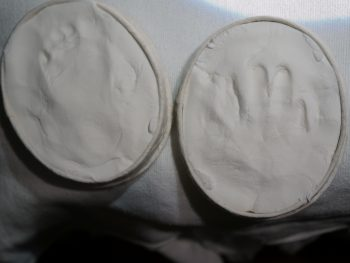 Baby's hand print in plaster