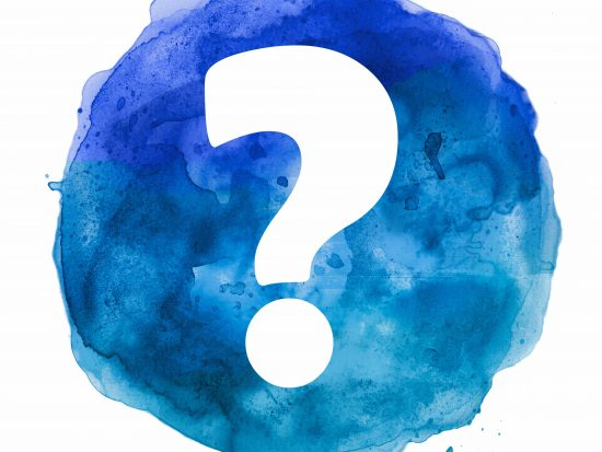 question mark in blue watercolor blot