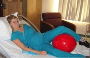 woman using peanut ball in labor